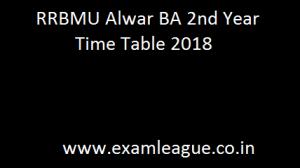 RRBMU Alwar BA 2nd Year Time Table