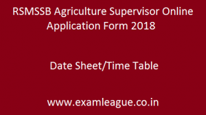 RSMSSB Agriculture Supervisor Online Application Form