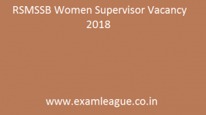 RSMSSB Women Supervisor Vacancy