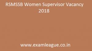 RSMSSB Women Supervisor Vacancy