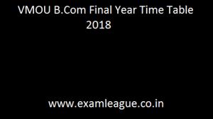 VMOU B.Com Final Year Time Table
