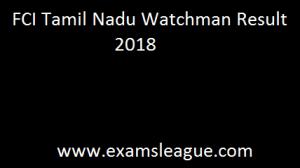 FCI Tamil Nadu Watchman Result