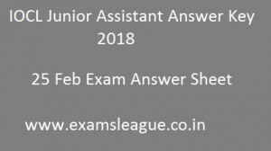 IOCL Junior Assistant Answer Key