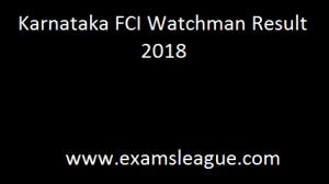 Karnataka FCI Watchman Result