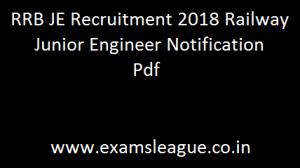RRB JE Recruitment 2018