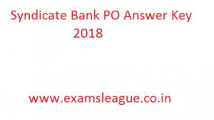 Syndicate Bank PO Answer Key