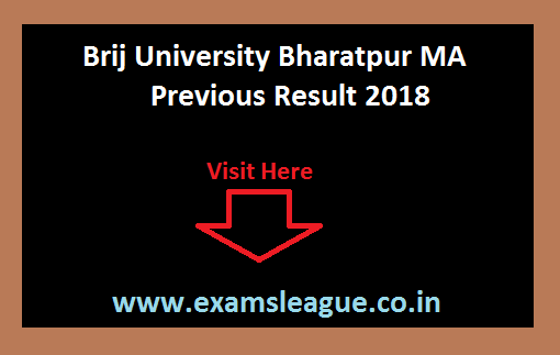 Brij University Bharatpur MA Previous Result