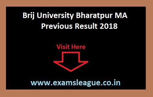 Brij University Bharatpur MA Previous Result