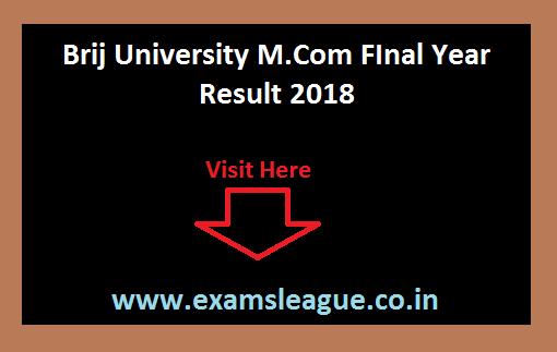 Brij University M.Com Result