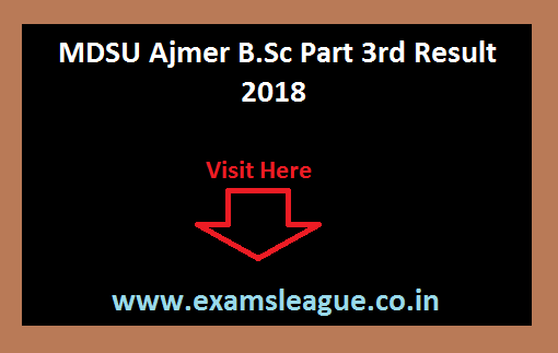 MDSU Ajmer B.Sc Part 3rd Result 2018