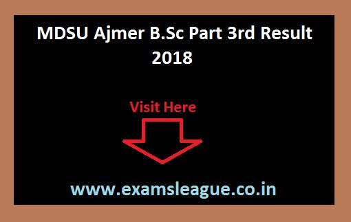 Mdsu Ajmer B.sc Part 3rd Result 2019 Bsc Final Year Result Date @mdsuexam.org