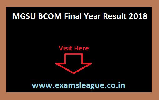MGSU BCOM Final Year Result 2018