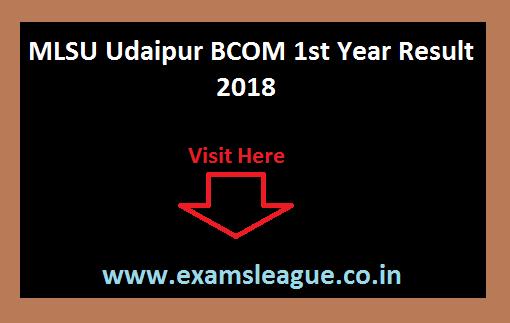 MLSU Udaipur BCOM 1st Year Result 2018