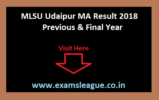 MLSU Udaipur MA Result 2018