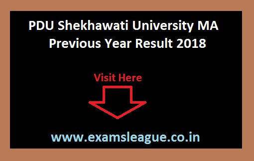 PDU Shekhawati University MA Previous Year Result