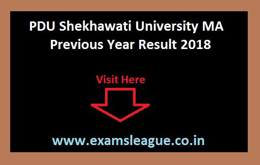 PDU Shekhawati University MA Previous Year Result