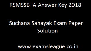 RSMSSB IA Answer Key 2018