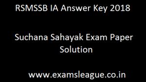 RSMSSB IA Answer Key 2018