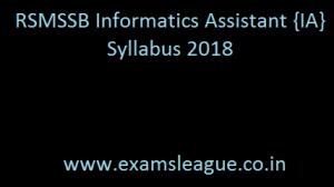 RSMSSB Informatics Assistant {IA} Syllabus 2018