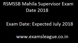 RSMSSB Mahila Supervisor Exam Date