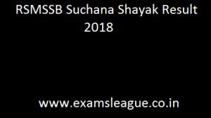 RSMSSB Suchana Shayak Result 2018