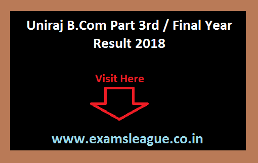 Uniraj B.Com Part 3rd / Final Year Result
