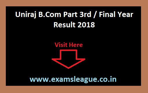 Uniraj B.Com Part 3rd / Final Year Result