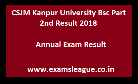 CSJM Kanpur University Bsc Part 2nd Result 2018