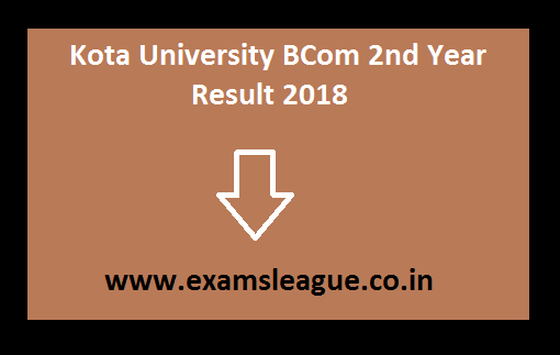 Kota University BCom 2nd Year Result 2018