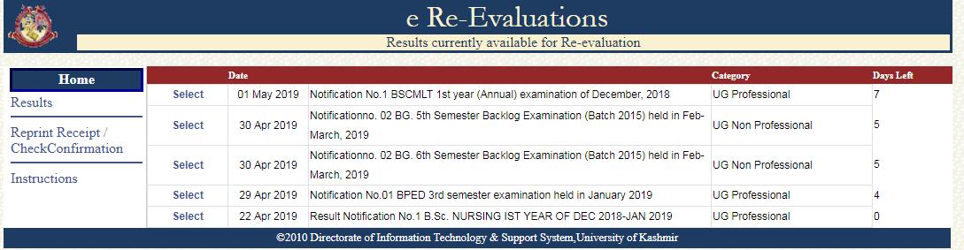 University of Kashmir Revaluation Form 2019