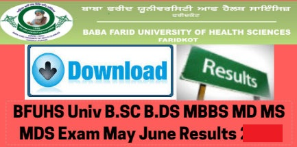 BFUHS Exams Result 2019