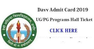 DAVV Indore University Admit Card 2019