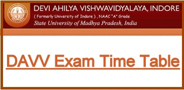 DAVV Indore University BA BSC BCOM Time Table 2019