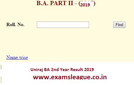 Uniraj BA 2nd Year Result 2019