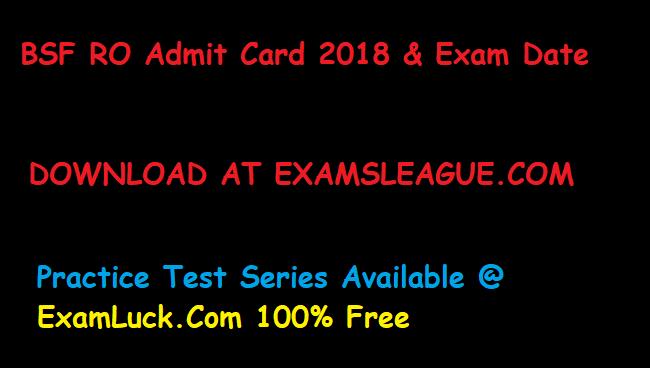 BSF RO Admit Card 2018 | BSF Radio Operator Exam Date
