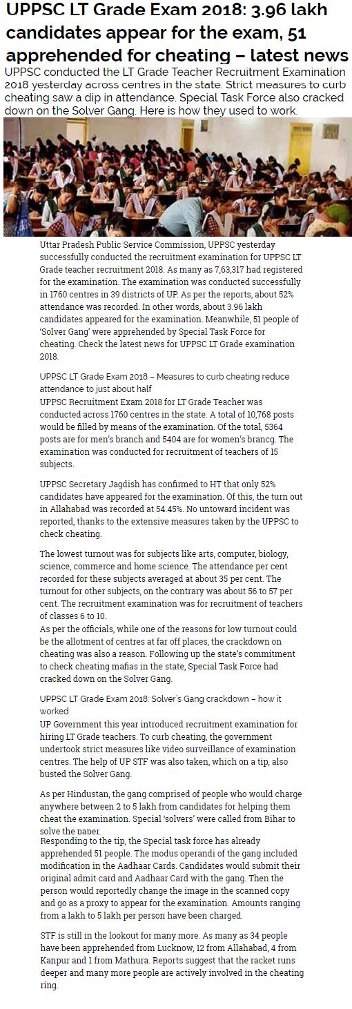 UP LT Grade Latest News