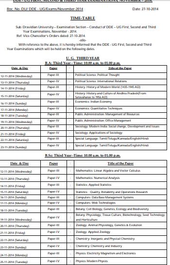 Dravidian University DDE Time Table 2019