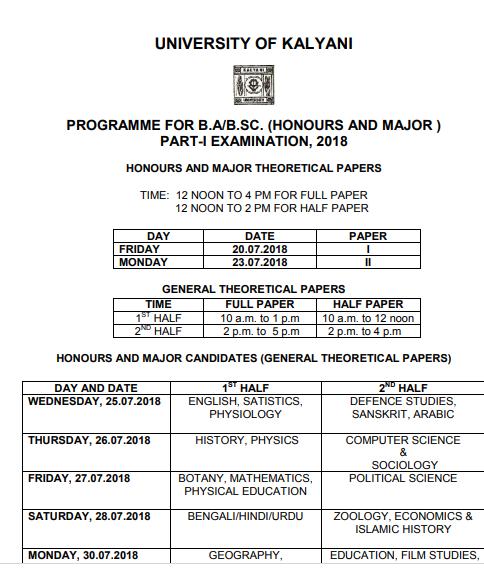 Kalyani University Exam Routine 2019