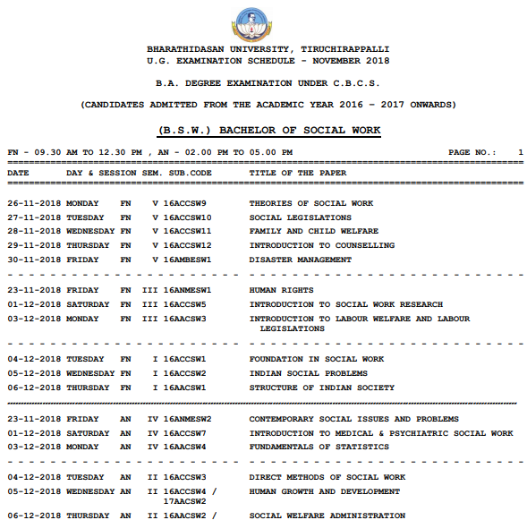 BDU BA BSc BCom Time Table April 2019