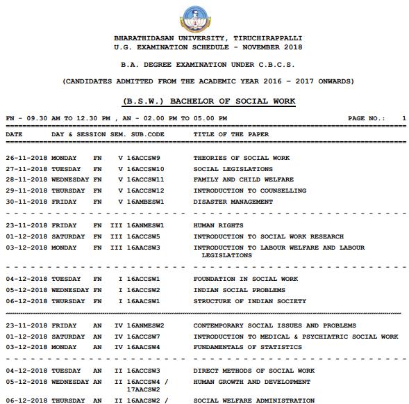 Bharathidasan University Exam Time Table 2019