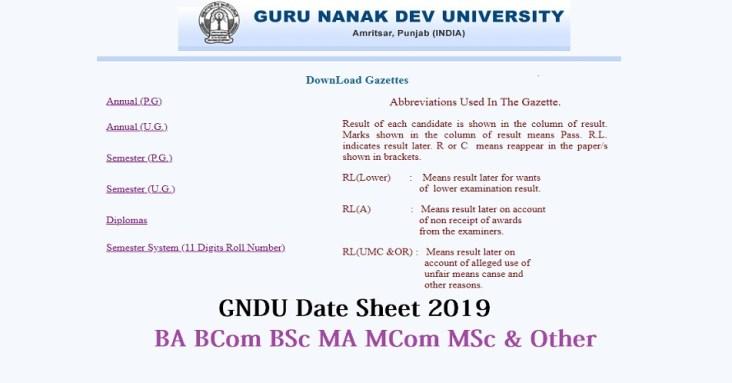 GNDU BA BSC BCOM Date Sheet 2019