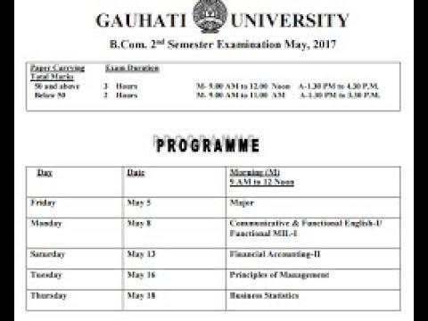 Gauhati University BA Bsc Bcom Exam Routine 2019