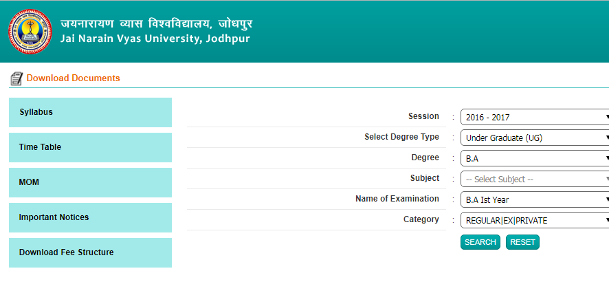 JNVU BA BSc BCom Time Table 2019