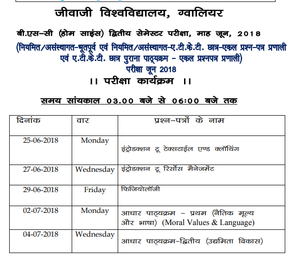 Jiwaji University Date Sheet