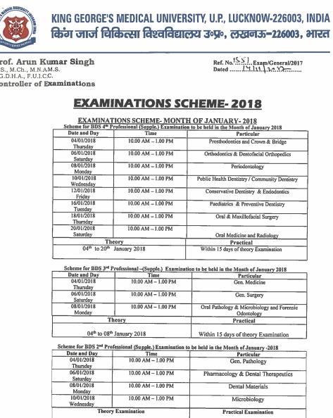 KGM University Date sheet 2019