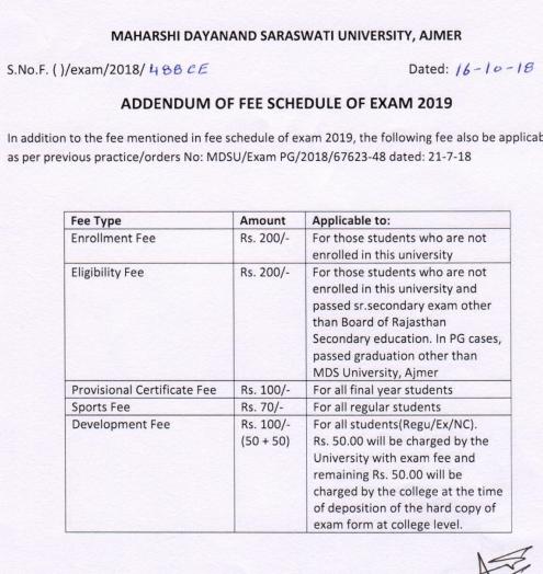 MDSU B.Com 2nd Year Exam Form 2019