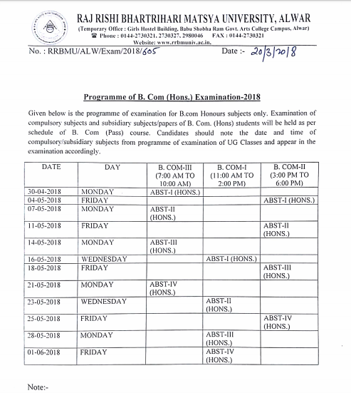 Matsya University BA 1st Year Time Table 2019