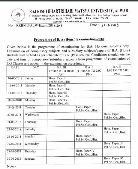 Matsay University Time Table 2019