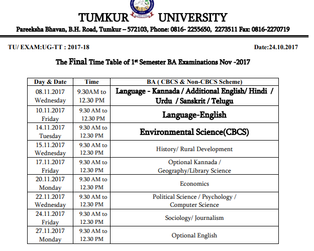 Tumkur University Date Sheet 2019