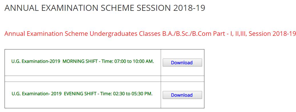 AU BA Time Table 2019